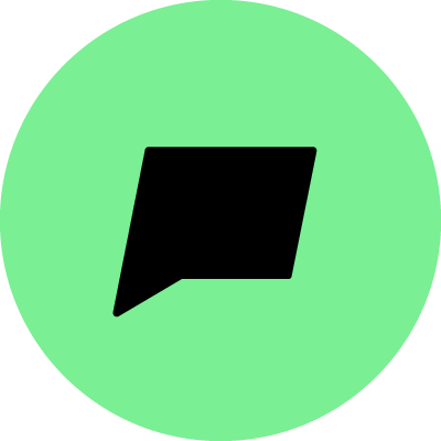 A black speech bubble with a green background.
