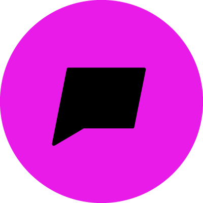 A black speech bubble with a pink background.