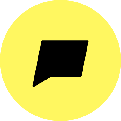 A black speech bubble with a yellow background.